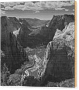 Zion Valley From Observation Point Wood Print