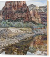 Zions National Park Angels Landing - Digital Painting Wood Print