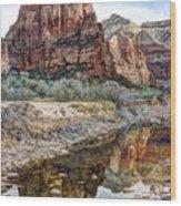 Zions National Park Angels Landing - Digital Painting Wood Print
