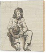 Zittende Jongen Met Hoed Op Schoot Bij Een Deuropening Wood Print
