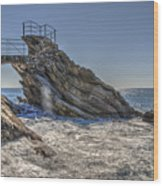 Zoagli Cliffs With Waves And Passage Wood Print