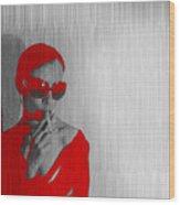 Zoe In Red Wood Print by Naxart Studio