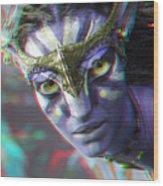 Zoe Saldana - Neytiri - Use Red And Cyan 3d Glasses Wood Print