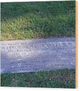 Zollicoffer's Grave Wood Print