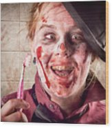 Zombie At Dentist Holding Toothbrush. Tooth Decay Wood Print