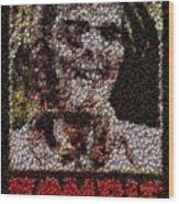 Zombie Bottle Cap Mosaic Wood Print by Paul Van Scott