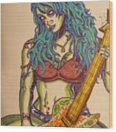 Zombie Guitar Wood Print