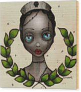 Zombie Nurse Wood Print by  Abril Andrade Griffith