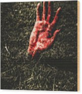 Zombie Rising From A Shallow Grave Wood Print