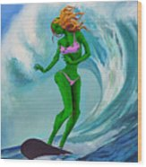 Zombie Surf Goddess Wood Print