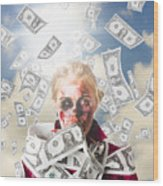 Zombie With Crazy Money. Filthy Rich Millionaire Wood Print