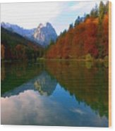 Zugspitz And Riessersee Garmish Germany Wood Print