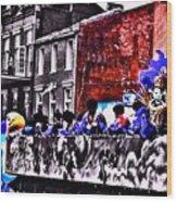 Zulu Krewe In Red And Blue Wood Print