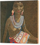 Zulu Woman With Beads Wood Print