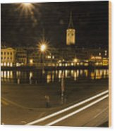 Zurich At Night Wood Print