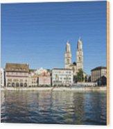 Zurich Cathedral Wood Print