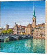 Zurich City Center Wood Print