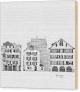 Zurich City Scene Wood Print