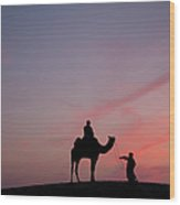 0399-sunset At Sam Sand Dunes Wood Print