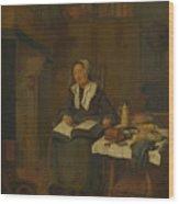 A Woman Asleep By A Fire  Wood Print