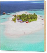 Aerial Drone View Of A Tropical Island, Maldives Wood Print