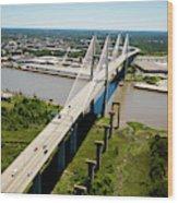 Aerial View Of Talmadge Bridge Wood Print