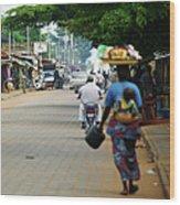 African Street Scene Wood Print