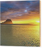 Amazing View Of Le Morne Brabant At Sunset.mauritius. Panorama Wood Print