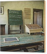 An Old Classroom With Blackboard And Boards With Old Script Wood Print