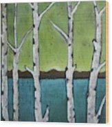 Aspen Trees On The Lake Wood Print