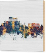 Athens Greece Skyline Wood Print