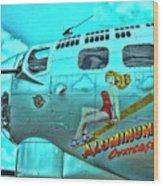 B-17 Aluminum Overcast Pin-up Wood Print