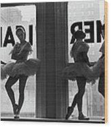 Ballerinas Standing On Window Sill In Wood Print