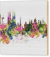Barcelona Watercolor Skyline Wood Print