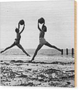 Beach Dancers Wood Print