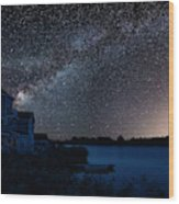 Beautiful Night Sky Astrophotography Landscape Image Of Milky Wa Wood Print
