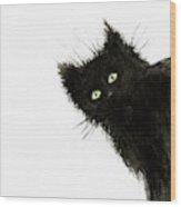Black Fuzzy Cat Peaking From Around The Corner Wood Print