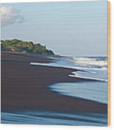 Black Sand Beach Wood Print