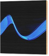 Blue Abstract Coloured Lights Trails Wood Print