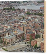 Boston Government Center, North End And Harbor Wood Print