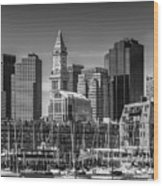 Boston Skyline North End And Financial District - Monochrome Wood Print