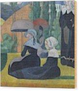 Breton Women With Umbrellas  Wood Print