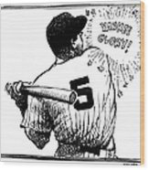 Cartoon New York Yankees Joe Dimaggio 1 Wood Print