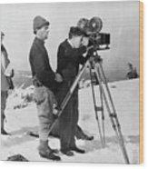 Charlie Chaplin Behind Movie Camera Wood Print