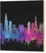 Chicago Skyline Watercolor 3 Wood Print