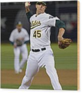 Cleveland Indians V Oakland Athletics - 1 Wood Print