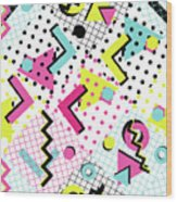 Colorful Abstract 80s Style Seamless Wood Print