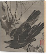 Crow On A Branch Wood Print