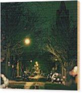 Dark Chicago City Street At Night Wood Print