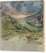 Digital Watercolor Painting Of Beautiful Dramatic Landscape Imag Wood Print